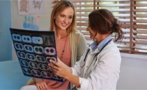 Doctor explaining ct scan